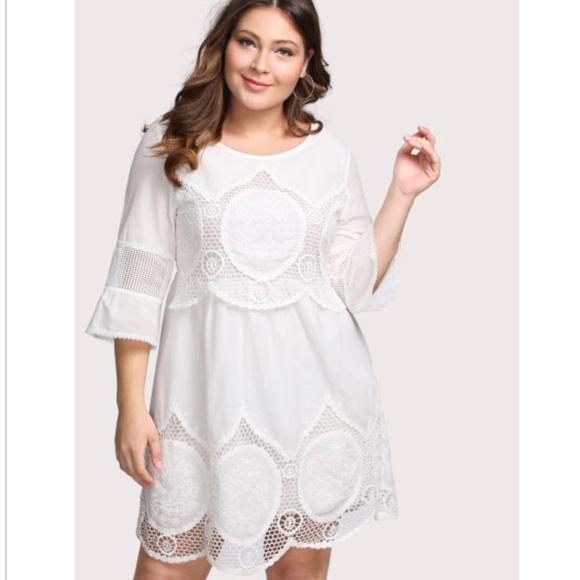 White bohemian dress plus size